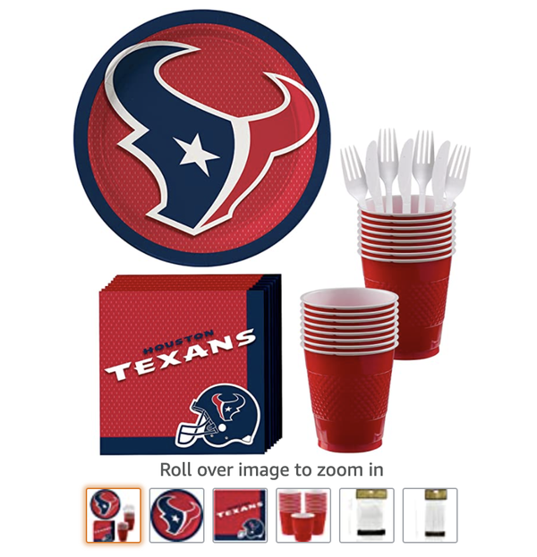 Houston Texans Party Supplies for 18 Guests, Include Paper Plates, Paper Napkins, Cups, Utensils