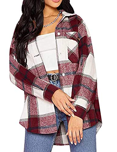 Tanming Womens Wool Blend Plaid Lapel Button Short Pocketed Shacket