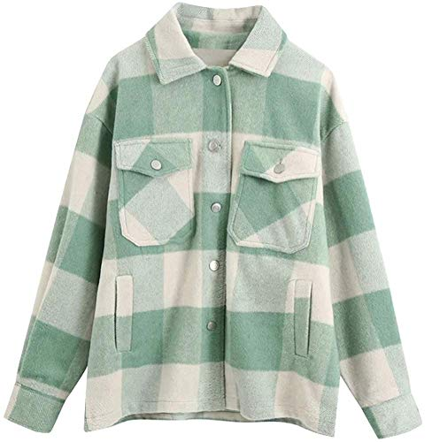 Women's Oversized Casual Plaid Wool Blend Button Down Long Sleeve Shacket