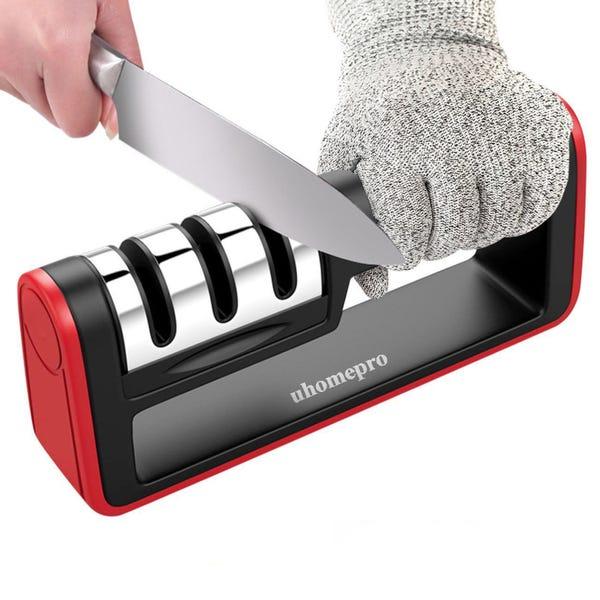 Knife and Scissor Sharpener, 3-Stage Knife Sharpening System, Non-slip Base