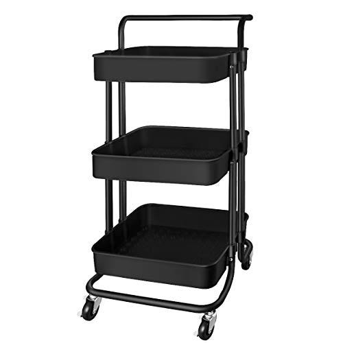 QiMH 3 Tier Rolling Storage Cart Heavy Duty Mobile Rolling Utility Cart
