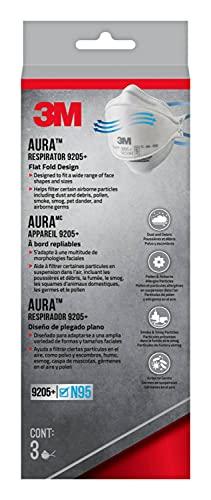 3M 9205P-3-DC Aura Particulate Respirator 9205+ N95, 3/Pack White