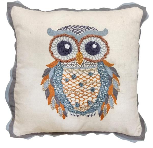 Blue Owl Flange Throw Pillow