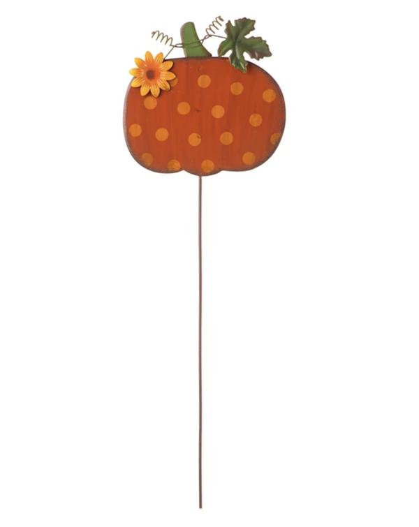 Polka Dot Pumpkin Decorative Pick