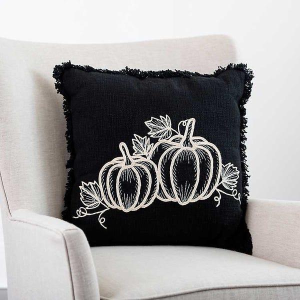 Black Embroidered Pumpkin Pillow