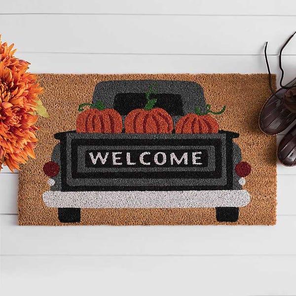 Welcome Pumpkin Truck Doormat