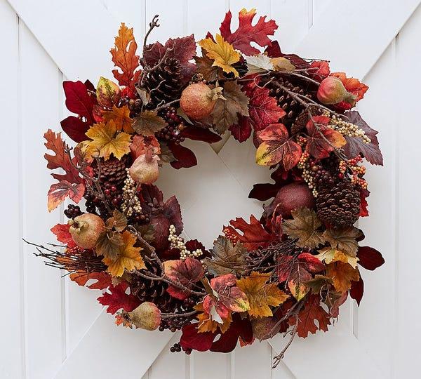Pomegranate Pinecone Wreath