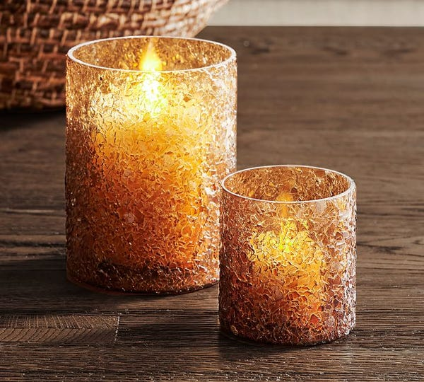 Texture Glass Votives Amber Tealight