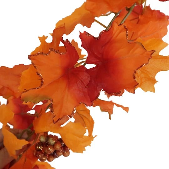 Orange Glitter Maple Leaf & Berry Chain Garland