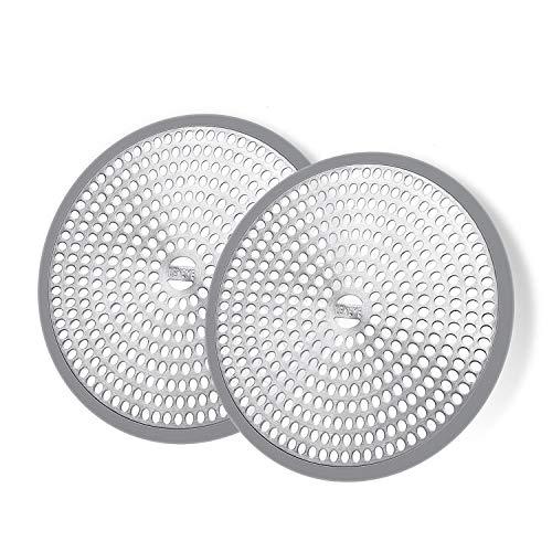 LEKEYE Shower Hair Catcher Drain Protector Strainer-Steel & Silicone 2 Pack