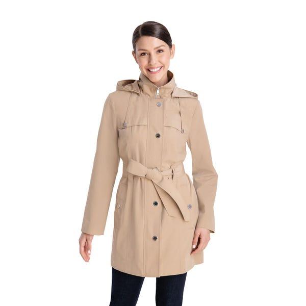 Women's London Fog Hooded Zip-Front Rain Coat