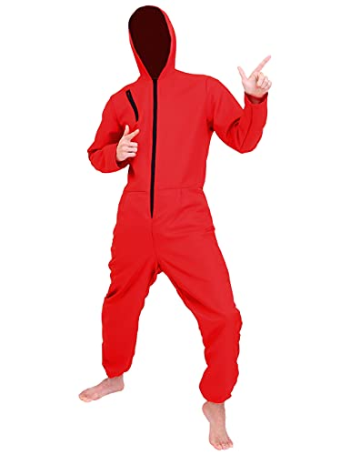 Angelaicos Unisex Red Jumpsuits Mask Costume Halloween Party Coverall