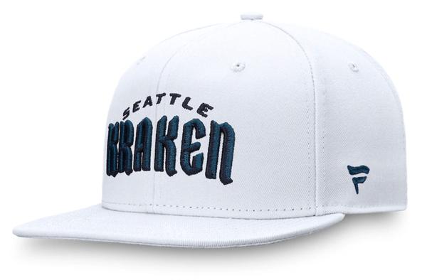 Men's Seattle Kraken Fanatics Branded White Wordmark Logo Fitted Hat