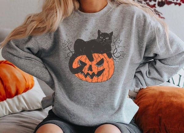 Black Cat on Pumpkin Sweatshirt Sweater for fall Black Cat
