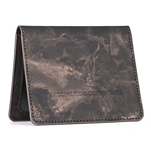 Vaccine Card Protector PU Leather Vaccination Card Wallet