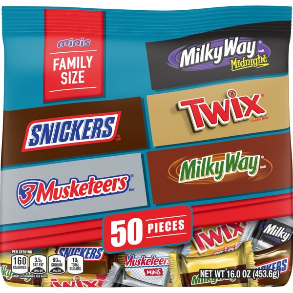 Mars Snickers, Twix, 3 Musketeers, Milky Way Midnight Minis Size Variety Mix Candy Bars
